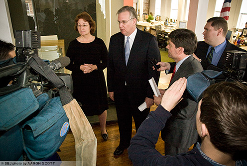 Gov. Jay Nixon speaks to the press at Dake Wells Architecture and EMSI on Jan. 16.