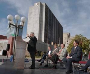 Hammons announces an Oklahoma City development in 1994. Photo credit: NewsOk.com