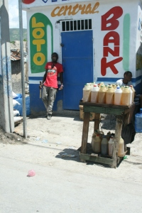 A roadside gas station and bank in Port au Prince.