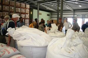 The first shipment of Haitian-grown rice and beans is in the warehouse.