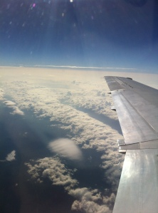 Travel Day: Springfield is somewhere below the blanket of clouds.