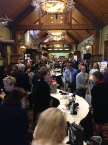 The silent auction benefiting Women in Need was a hub of activity.