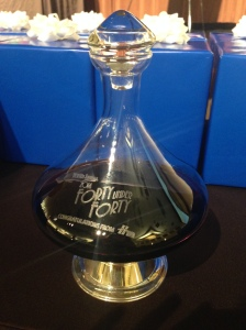 HM gave each honoree a crystal wine decanter etched with the 40 Under 40 logo. #jealous