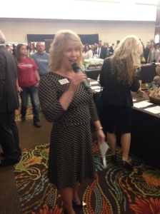 Roving emcee and SBJ account executive Valerie Pister was on the mic at the start of the night talking about all the auction goodies.
