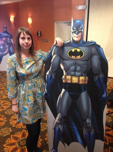 Graphic Design Anne Mauldin and her best serious Dark Knight face.