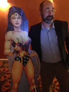 Reporter Brian Brown and Wonder Woman.