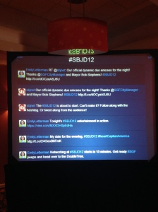 SBJ tested out a new idea, ala One Million Cups events, with a live Twitter feed during the evening. The official hashtag was #SBJD12 and people loved it.