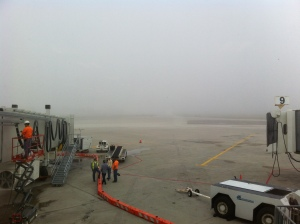 Early morning fog at the airport