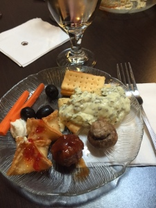 A fan favorite, here's the evening's hors d'oeuvre spread. The spinach artichoke dip looks blob-like here, but it was delish.