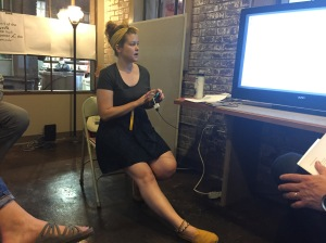 Most meetings during the day were conducted with charts and graphs via an iPhone plugged into a television. So handy. Here, Shawn's assistant Sarah VandaVeer talks about corporate gifts.