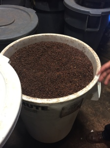 Check out this barrel of freshly roasted cocoa nibs, the same Shawn uses in his breakfast smoothie each morning. The handful I ate was still warm.