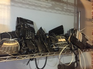 Looking around the factory later in the day, I spotted the old phone bank.