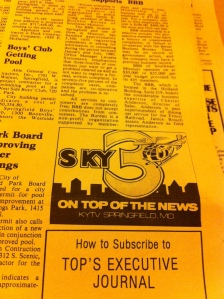 I was surprised to see several ads from local media such as this KY3 number in the early editions.